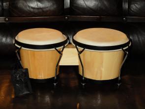 Spændbare Bongo trommer i træ