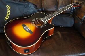 Santana LA-100 Sunburst Western Guitar m/etui
